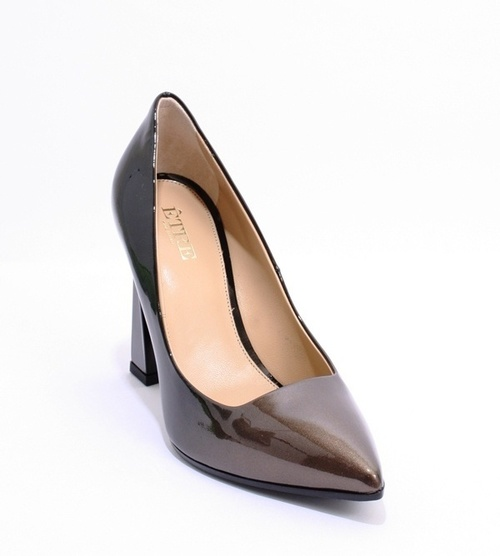 Metallic / Black Patent Leather Ombre Fade Heels Pumps