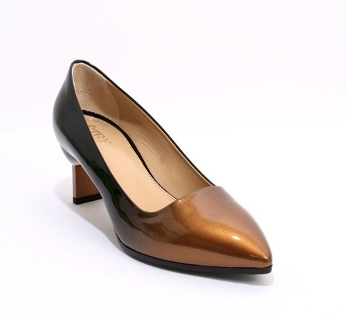 Black / Bronze Patent Leather Ombre Fade Heels Pumps