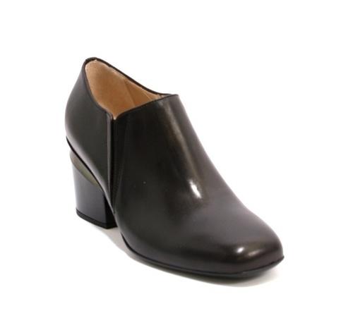 Black Leather Elastic Inserts Geometric Heel Booties