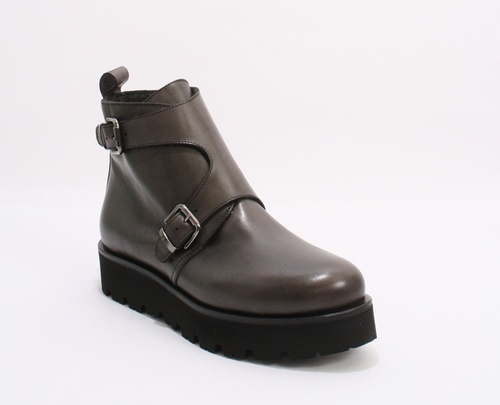Grey Leather Buckles Zip Lightweight Boots