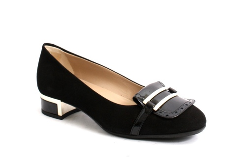 Black Suede / Patent / Gold Buckle Heels Pumps