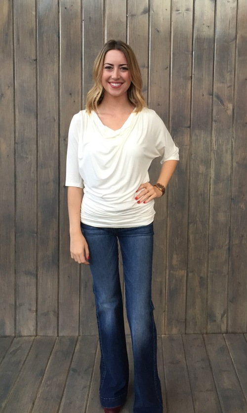 Cowl Neck Top Ivory