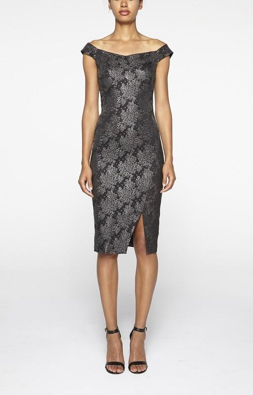 Blossom Jacquard Off Shoulder Dress