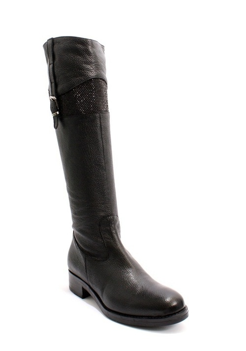 Black Leather Knee-High Round-Toe Heel Boots