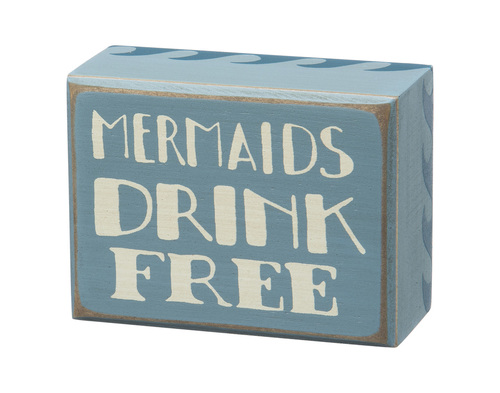 Mermaids Drink Free Sign Blue