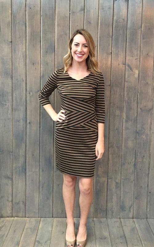 Striped Bandage Dress CoffeeBl