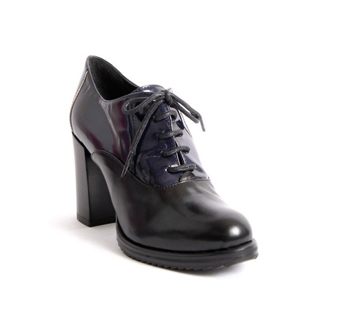 Black Leather / Navy Patent Leather Lace-Up Booties