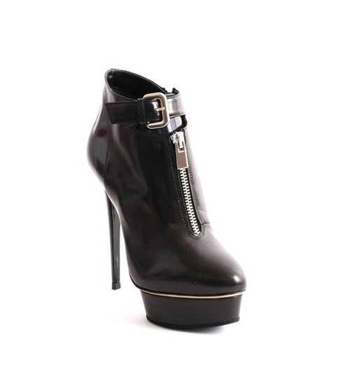 Black Leather Navy Patent Platform Heel Ankle Boot