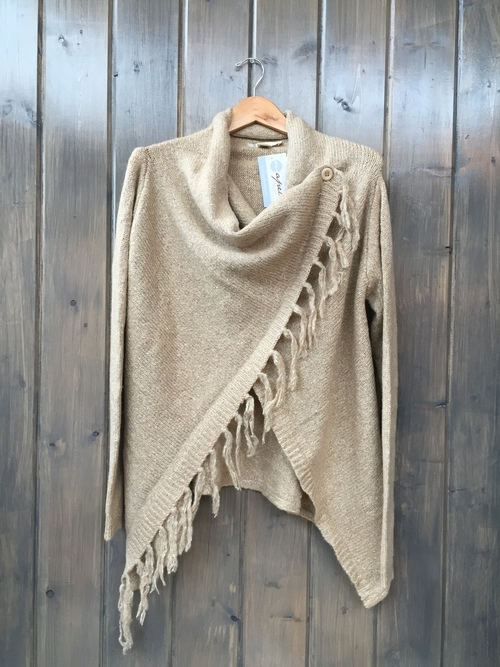 OneSided Fringe Cardigan Oat