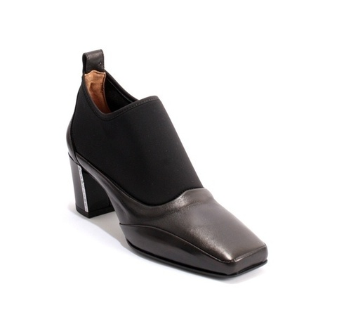 Black Leather / Stretch Comfort Ankle Booties