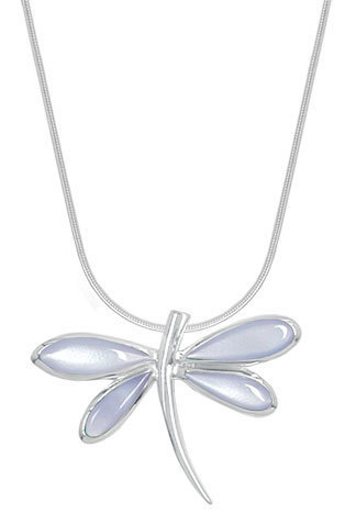 Purple Mother of Pearl Dragonfly Necklace