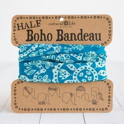 Turquoise & Cream Half Boho Bandeau