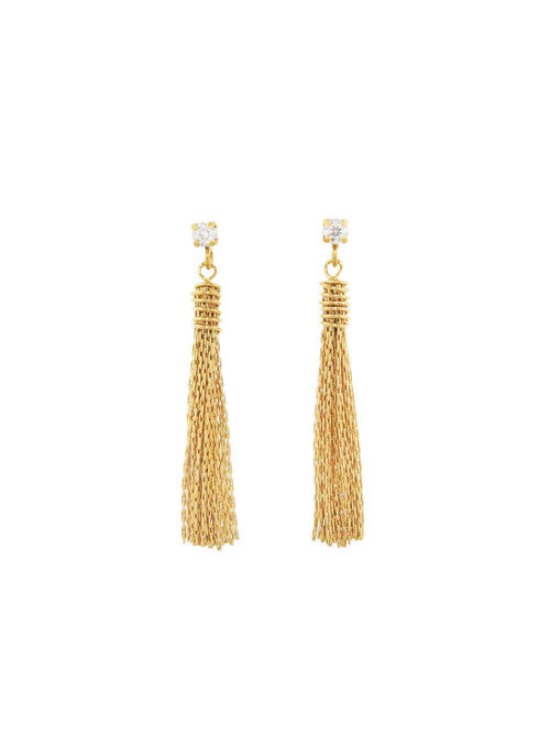 Gold Plated Brass Matching Tassles with Zircon Stud