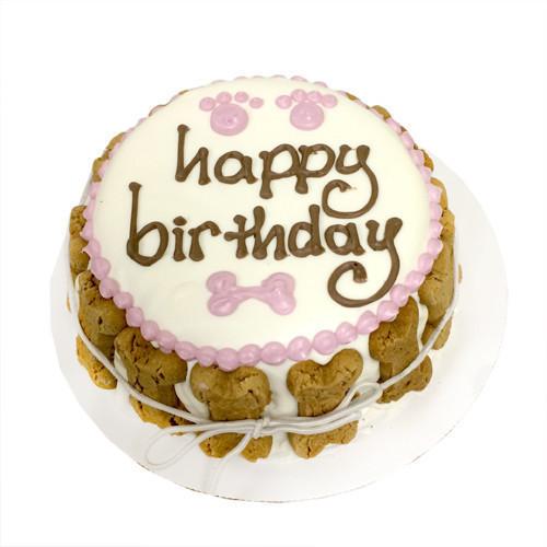 White Pink Dog Happy Birthday Cake