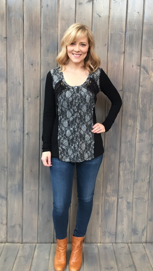 Lace Overlay Black & Grey Top