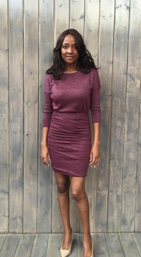 Wide Neck Shirred Dress Pinot
