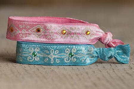 Pink & Teal Bracelet/Hairband