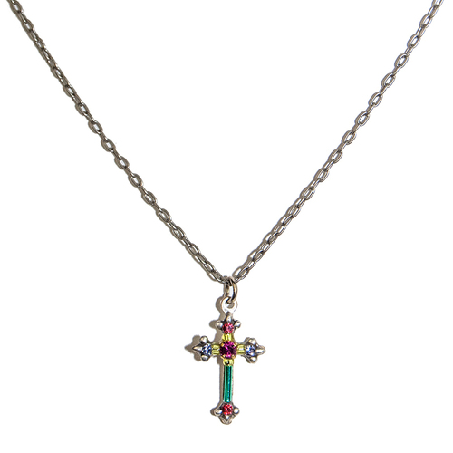 Dainty Color Cross Necklace Multicolor