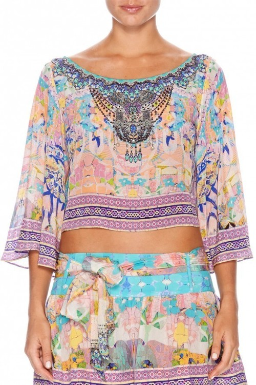 1baabc599db14 Midriff Top With Bell Sleeves By Camilla