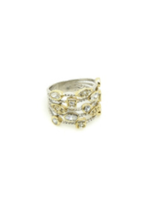 Two Tone CZ Layered Ring