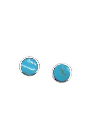 Small Round Turquoise Post Earrings