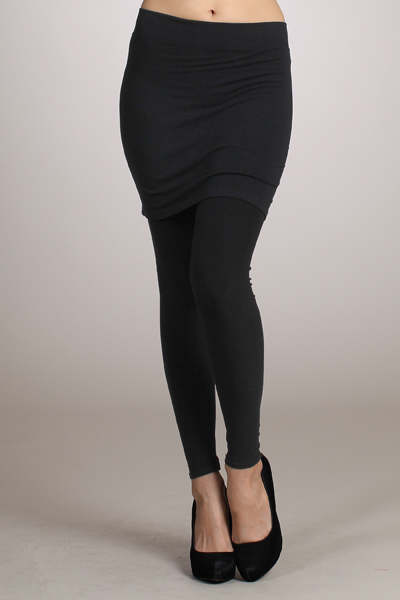 Black Leggings w Attached Skir