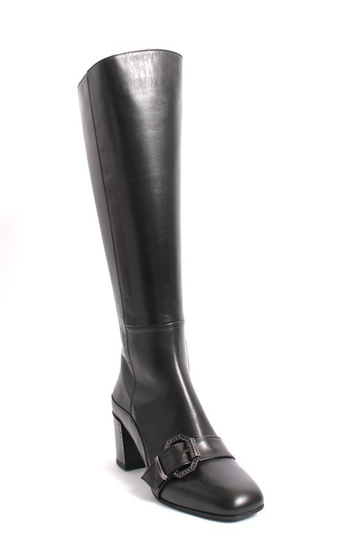 Black Leather Metal Buckle Knee High Boot