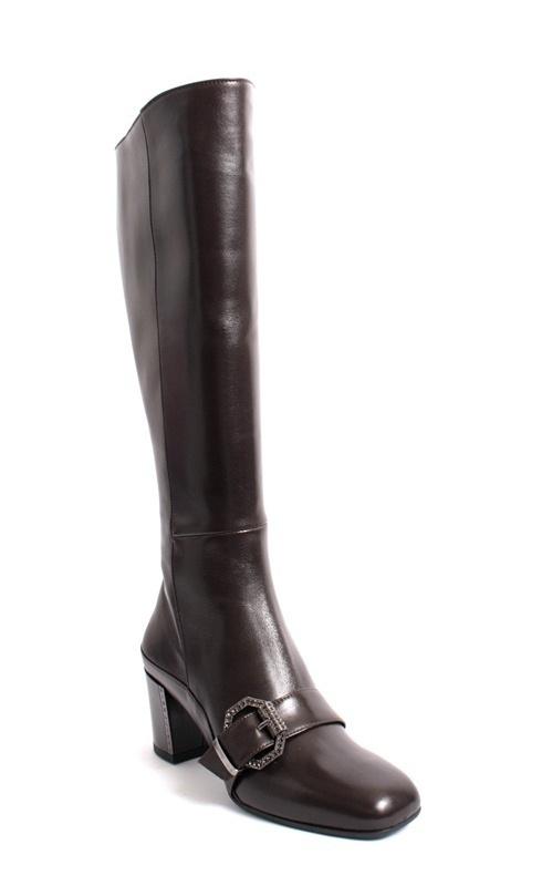 Dark Brown Leather Metal Buckle Knee High Boot