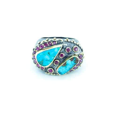 BORA Persian Turquoise & Ruby Ring