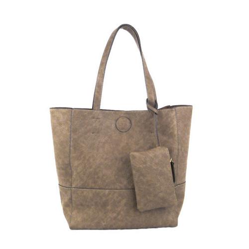 Raw Edge Tote Handbag Khaki