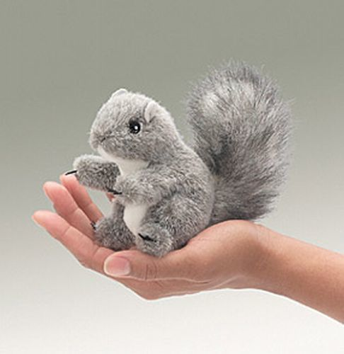 Mini Grey Squirrel Finger Puppet