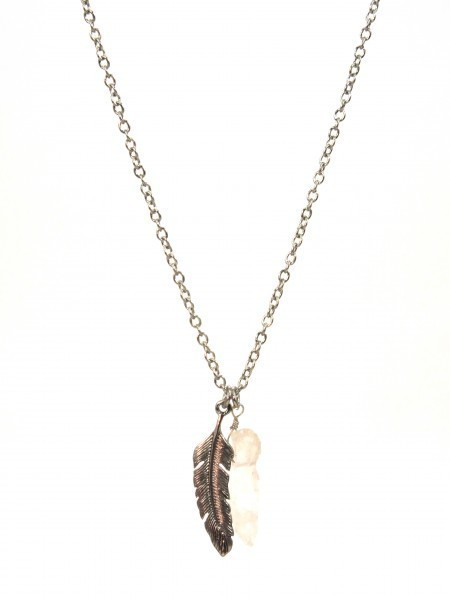 Feather & Crystal Necklace Silver