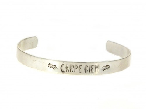 Carpe Diem Cuff Bracelet Silver