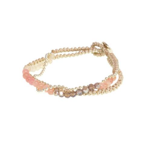 Gold Peach Beaded Bracelet