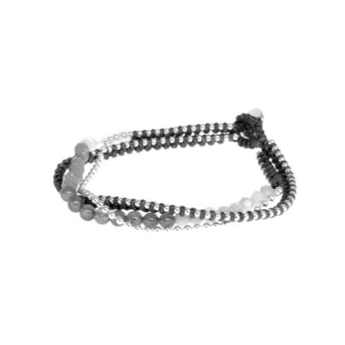 Silver Black Beaded Bracelet
