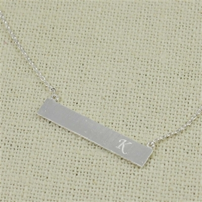 Silver K Bar Necklace