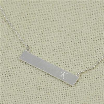 Silver K Bar Necklace