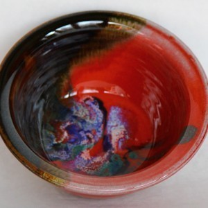 Small Salad Bowl Black Red