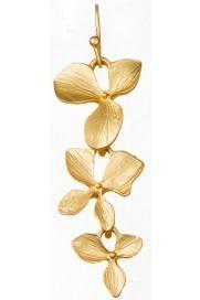 Three Flower Drop Earrings Gold