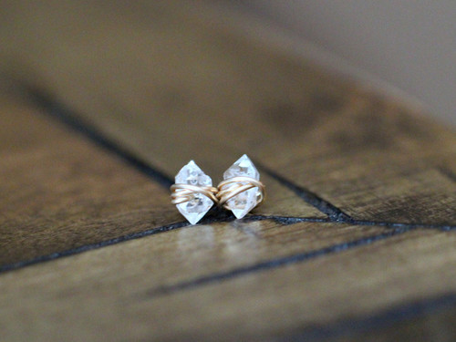 Herkimer Diamond Gold Studs