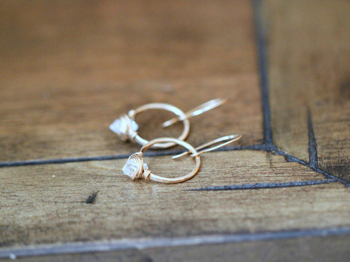 Herkimer Diamond Hoops Gold