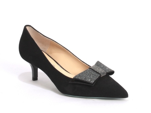 Black Suede / Glittered Bow Glamorous Pumps