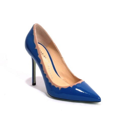 Royal Blue / Beige Patent Leather Pointy Pumps