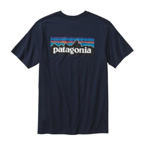 Patagonia M P-6 Logo Cotton T-Shirt Navy Blue