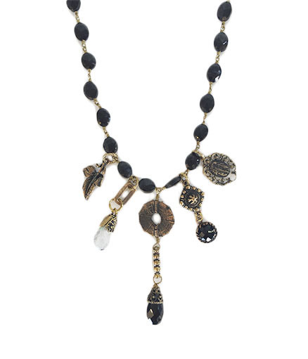 Onyx Necklace With Opal Drops