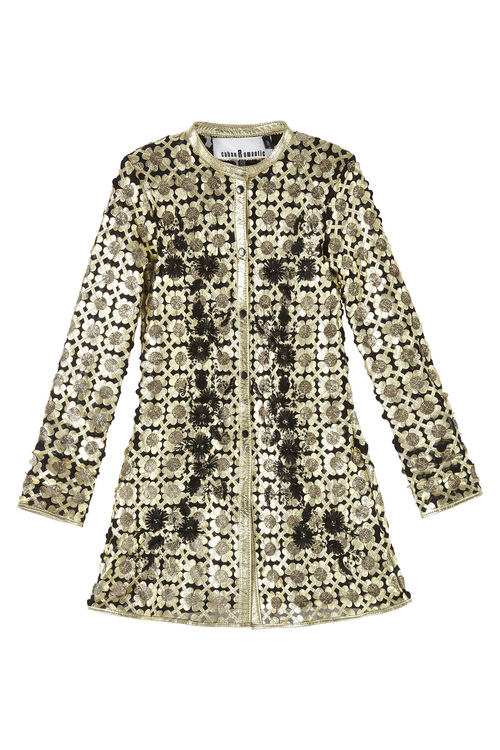 Flower Long Leather Embroidery Gold Lambskin Coat