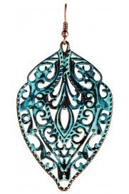 Patina Filigree Shield Earrings