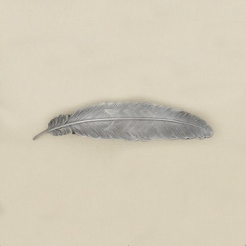 Large Feather Silver Barrette