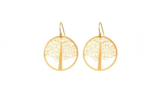Thin Gold Tree of Life Earrings