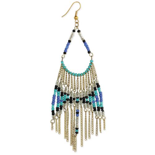 Tonal Blue Bead Earrings